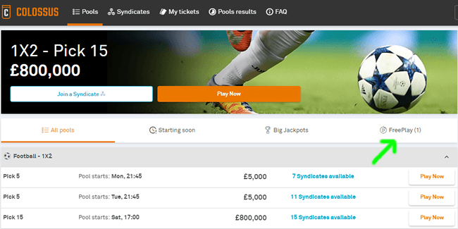 colossusbets freeplay section